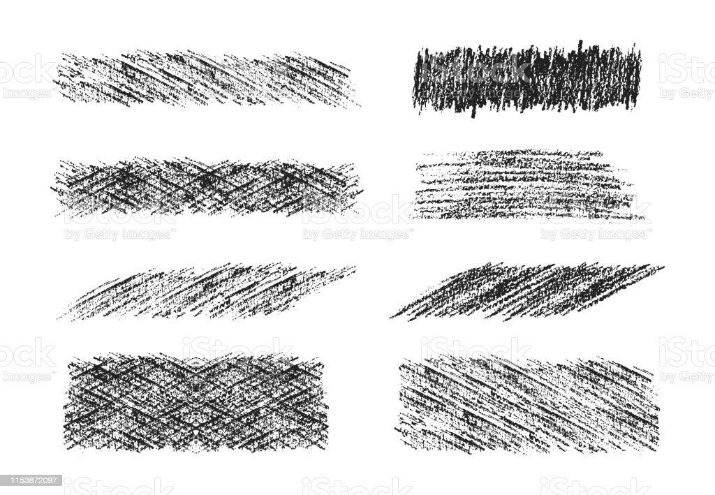 Hand drawn pencil scribble frames. Black coal edge background. Vector...