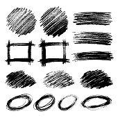 Set of Sketch Scribble Smears. Hand drawn Pencil Scribble Stains. Vector illustration.