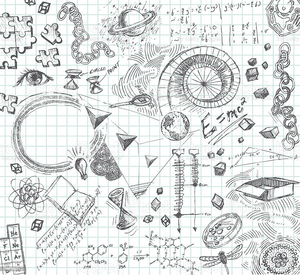 Hand drawn pencil sketches of scientific concepts royalty-free stock vector art