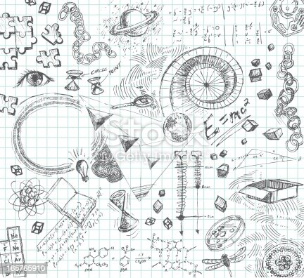 Hand-drawn doodle pencil sketch of various scientific subject matter—A stream of consciousness look into the mind of a science, technical or math oriented person. All images are grouped and on separate layers making for easy changes. Graph paper on layer that can be easily removed. XL 5000x5000 jpeg included.