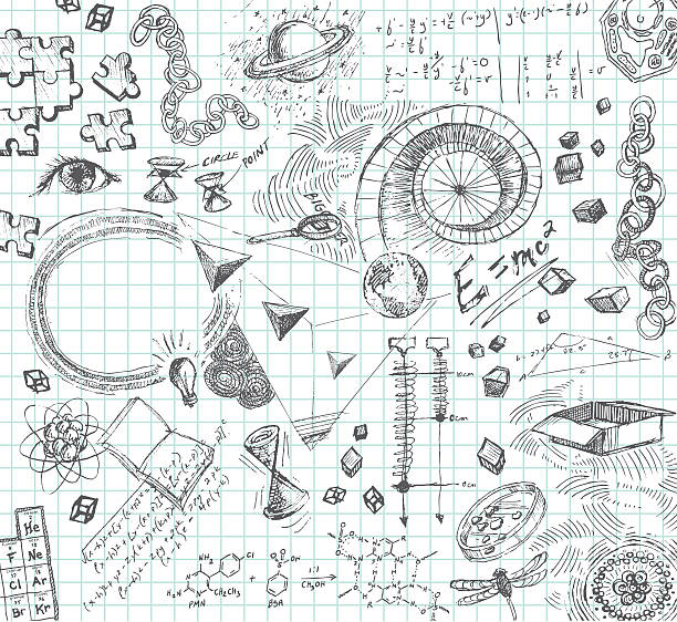 Hand drawn pencil sketches of scientific concepts vector art illustration