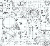 Hand drawn pencil sketches of scientific concepts