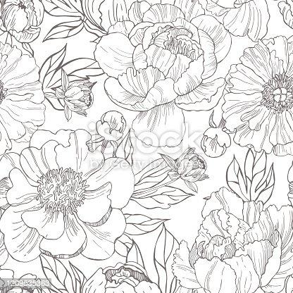 istock Hand drawn peonies. Vector  pattern. 1209535363