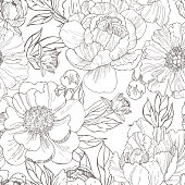 istock Hand drawn peonies. Vector  pattern. 1209535363