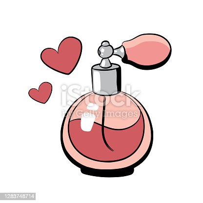 istock Hand drawn perfume bottle, vector illustration on white background. 1283748714
