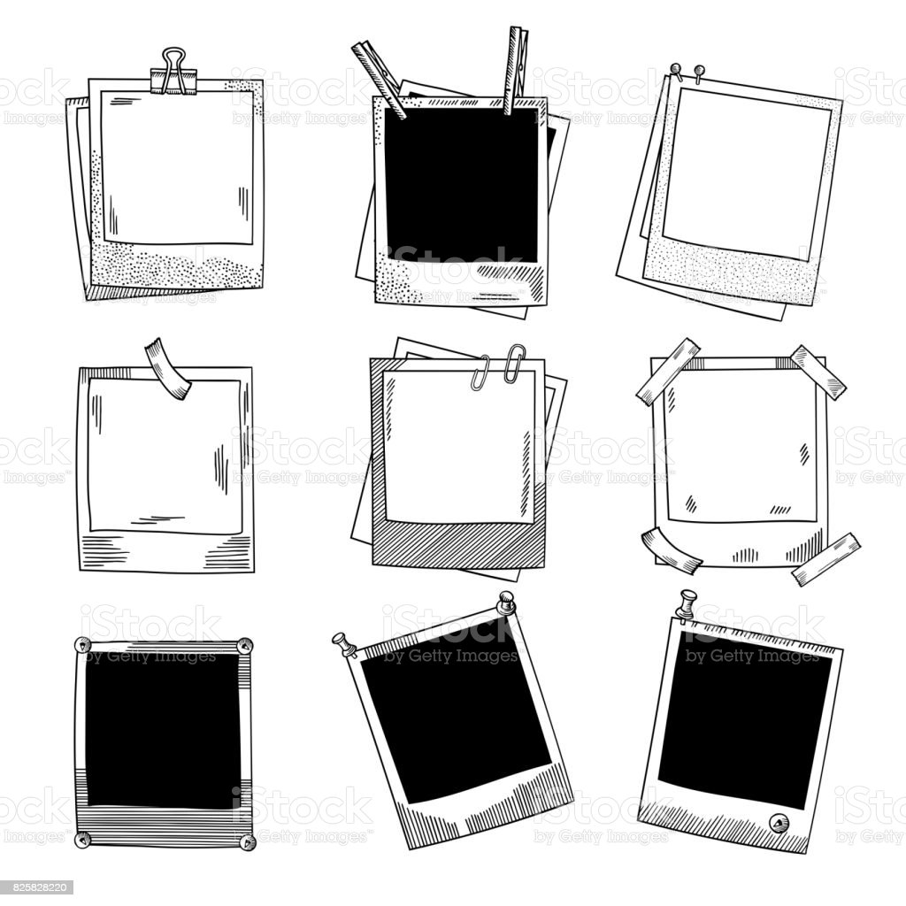 Main sur cadres photo. Vintage vector illustration jeu - Illustration vectorielle