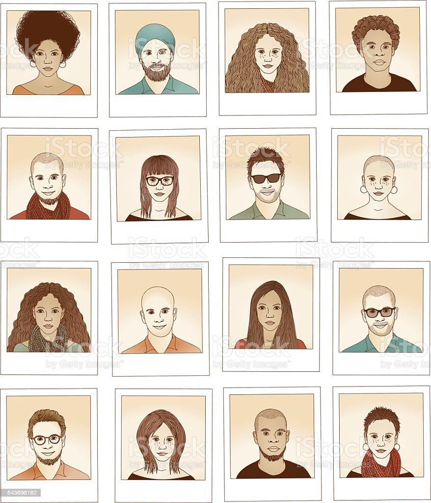 Hand drawn photographs vector art illustration