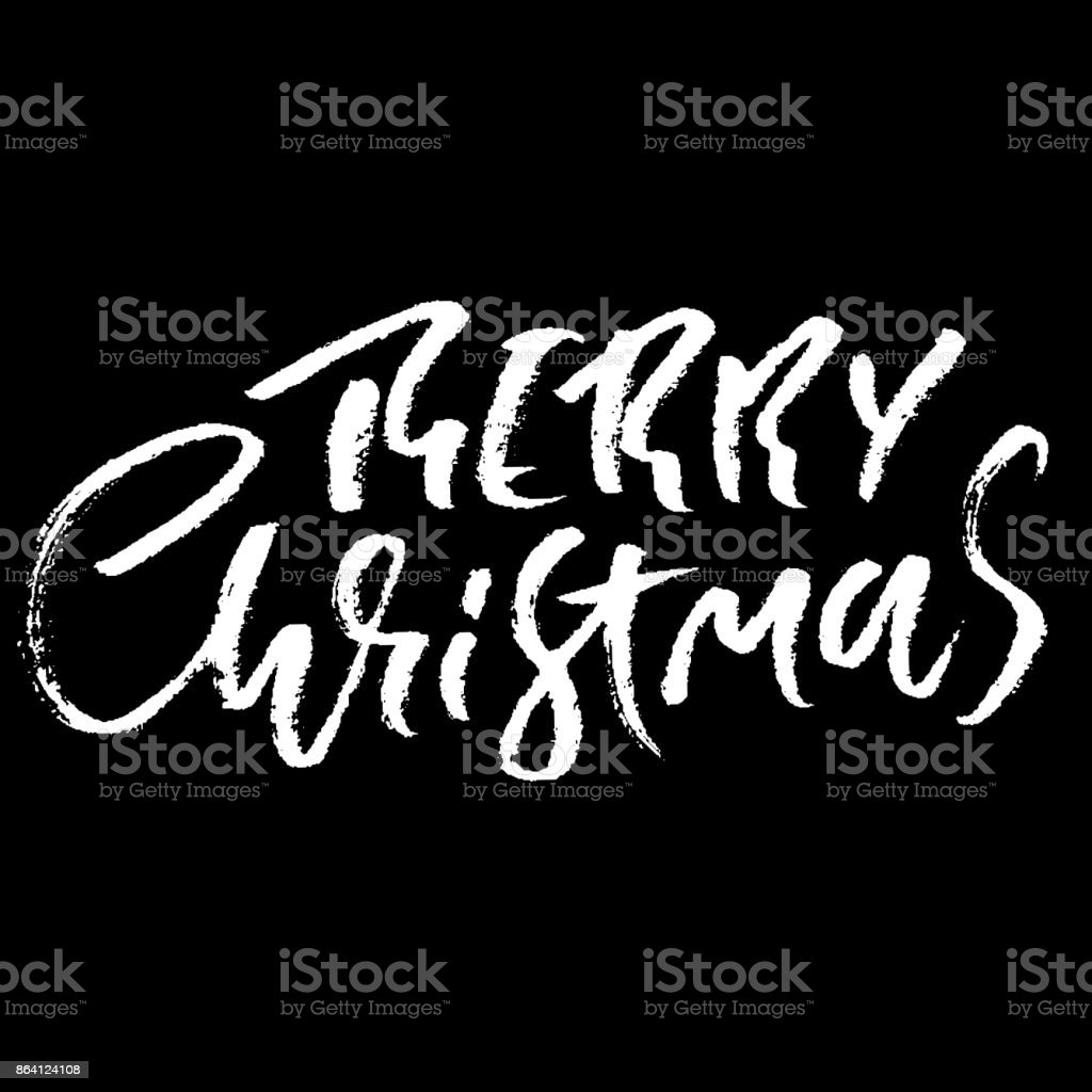 Hand drawn phrase Merry Christmas. Modern dry brush lettering design. Vector typography illustration. Holiday poster. royalty-free hand drawn phrase merry christmas modern dry brush lettering design vector typography illustration holiday poster stock vector art & more images of abstract