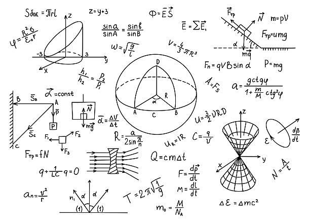 Hand drawn physics formulas Science knowledge education. Hand drawn physics formulas Science knowledge education mathematical symbol stock illustrations
