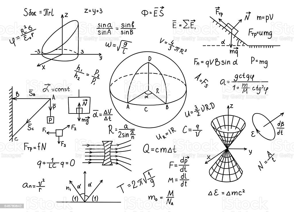 Hand drawn physics formulas Science knowledge education. - ilustração de arte em vetor