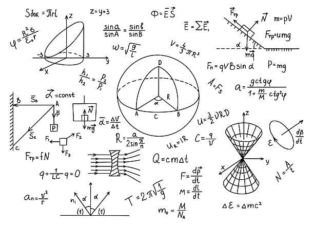 hand drawn physics formulas science knowledge education. - algorithm stock illustrations