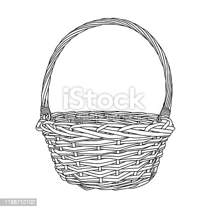 Hand-drawn empty wicker picnic basket. Black and white Basket with a handle made of twigs. The object is isolated on a white background.