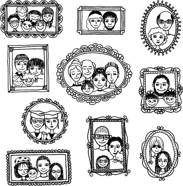handgezeichnet bilderrahmen mit familie porträts - palettenbilderrahmen stock-grafiken, -clipart, -cartoons und -symbole