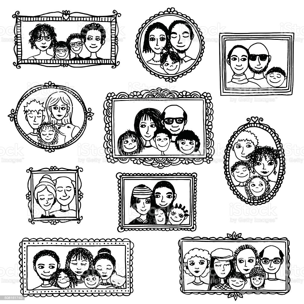 Hand drawn picture frames with family portraits vector art illustration