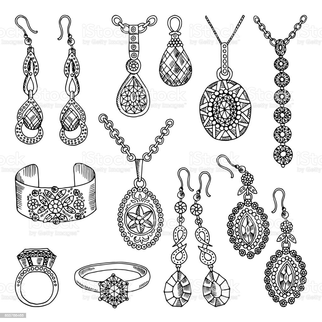 Line Art Earrings : Hand drawn pictures set of luxury jewelry vector