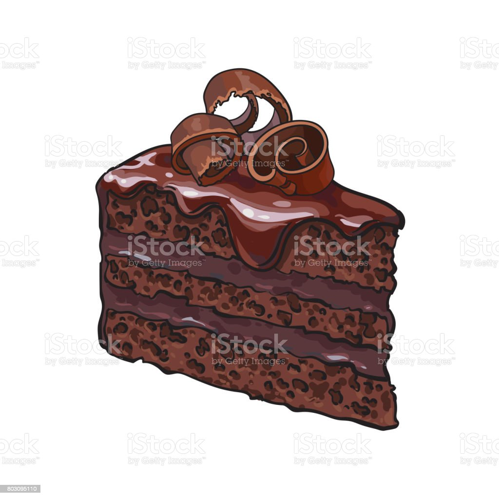Hand drawn piece of layered chocolate cake with icing, shavings vector art illustration