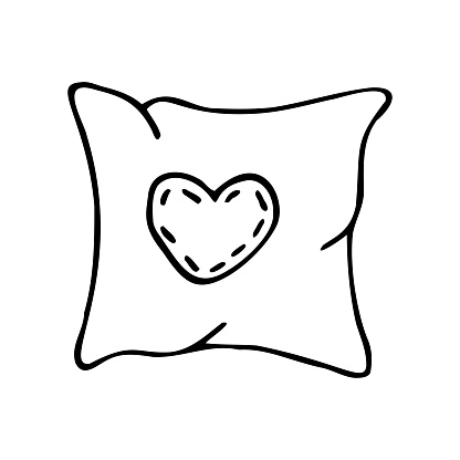 Hand drawn pillow with heart on a white isolated background. Doodle, simple outline illustration. It can be used for decoration of textile, paper and other surfaces.