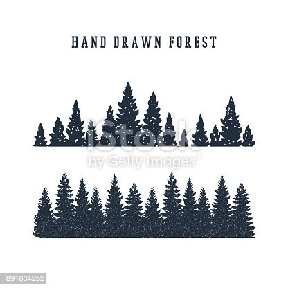 istock Hand drawn pine forest vector illustration. 891634252