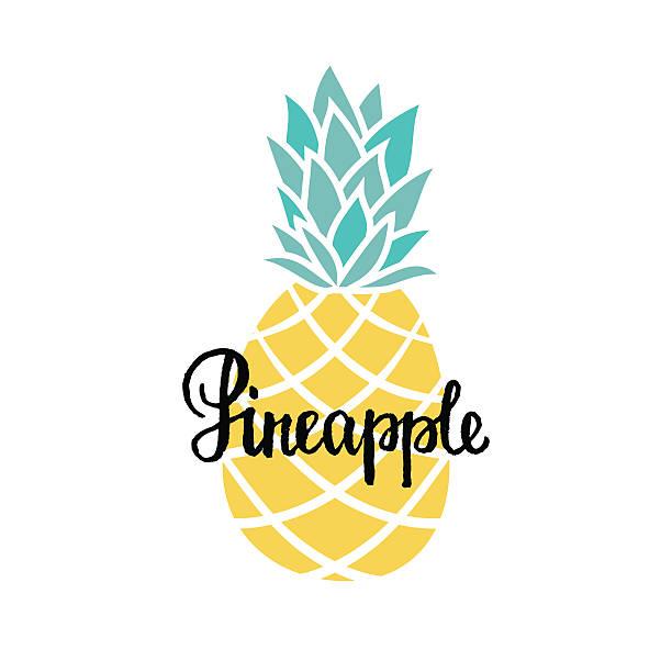 hand drawn pineapple and hand written text. – artystyczna grafika wektorowa
