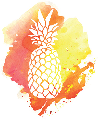 Hand drawn pineapple on watercolor blob