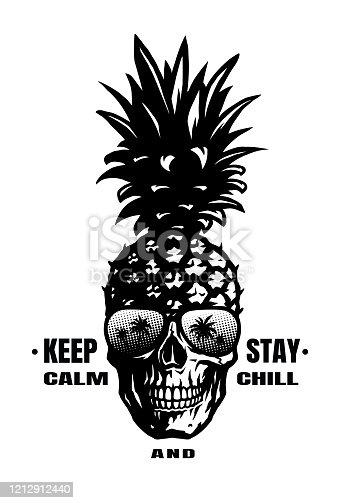 Hand Drawn Pineapple skull in a sunglasses, tee shirt graphics. Vector illustration.
