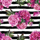 Hand drawn pink peonies bouquet seamless pattern on striped background. Realistic illustration in trendy vintage style.