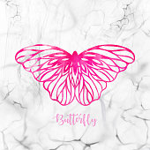 Hand Drawn Pink Watercolor Butterfly with White Marble Background. Design Element. Greeting Card.