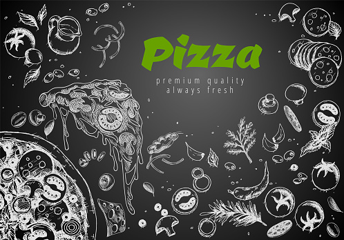 Hand drawn pizza line banner. Engraved style chalk doodle background. Savoury pizza ads with 3d illustration rich toppings dough. Tasty vector banner for cafe, restaurant or food delivery service