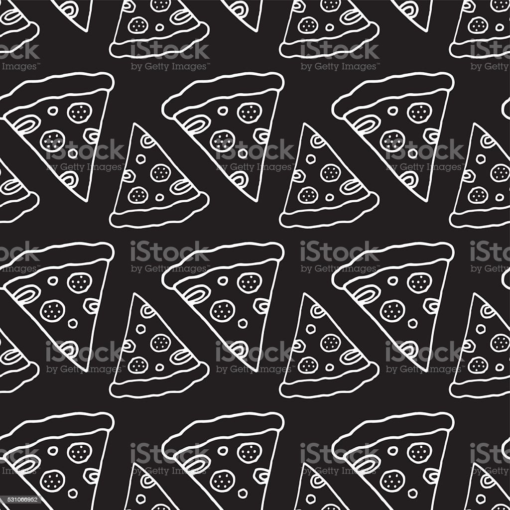 Hand Drawn Pizza Seamless Pattern vector art illustration
