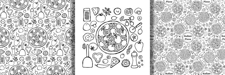 Hand Drawn Pizza set and seamless patterns