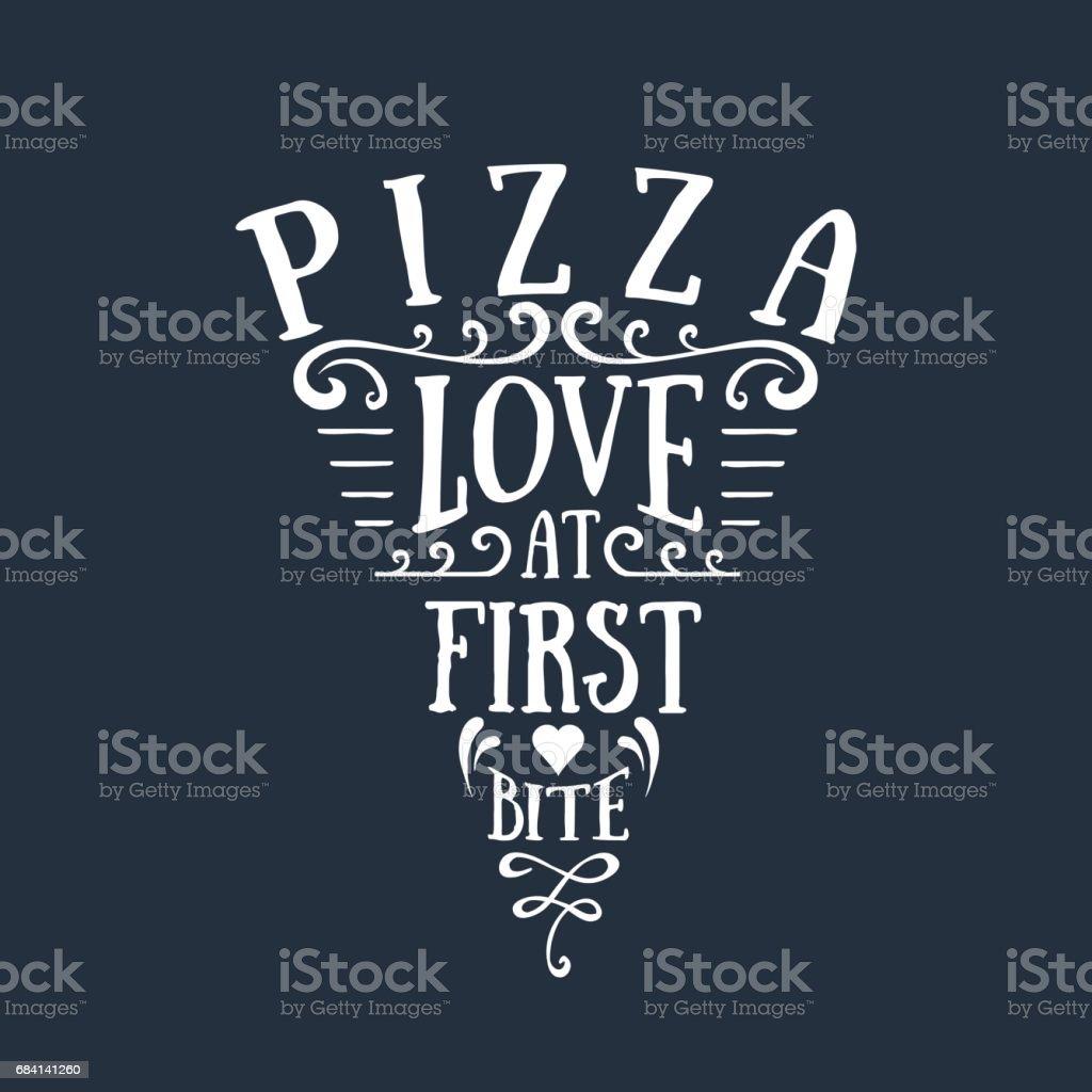Hand drawn pizza sliced shaped vector lettering hand drawn pizza sliced shaped vector lettering - immagini vettoriali stock e altre immagini di alimentazione sana royalty-free