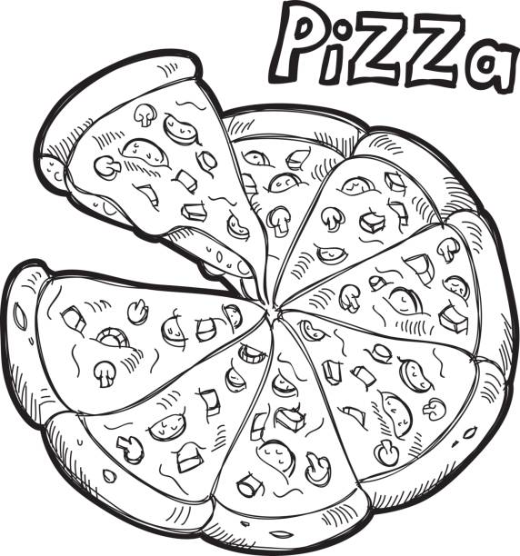 Best Pizza Black And White Illustrations, Royalty-Free