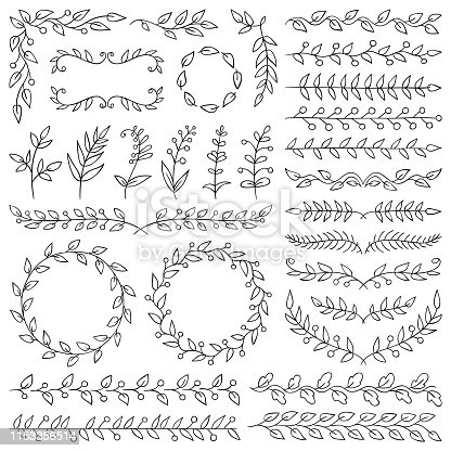 Set of hand drawn design elements. Vector floral dividers, wreaths, border frames. Doodle images.