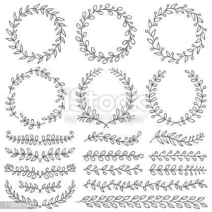 Set of hand drawn design elements. Vector floral dividers, wreaths, border frames. Doodle images.