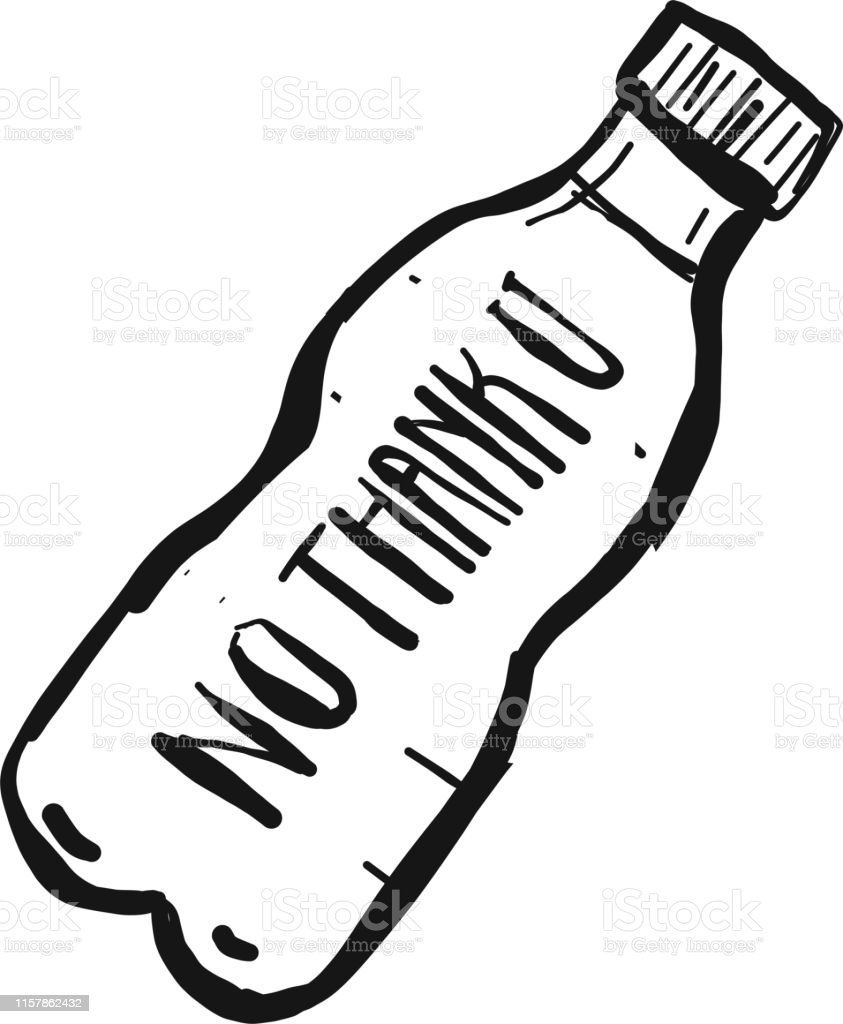 Water Bottle with black text