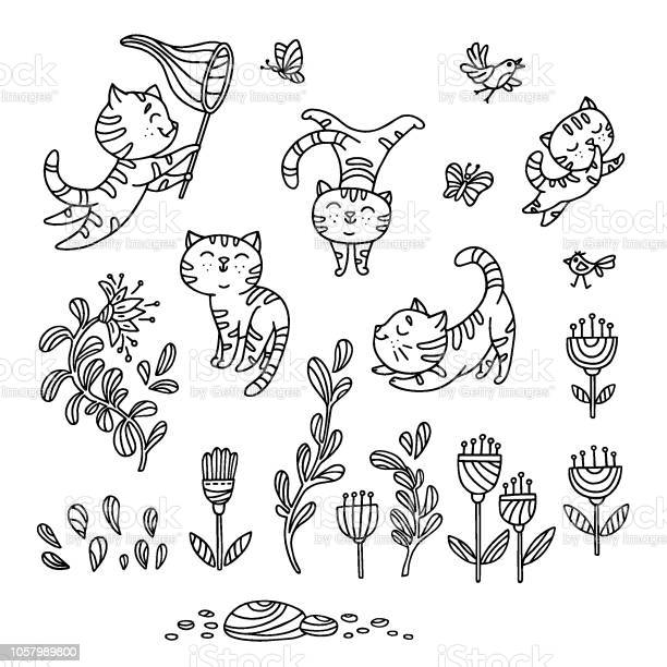 Hand drawn playful kittens with birds butterfly flowers isolated on vector id1057989800?b=1&k=6&m=1057989800&s=612x612&h=cl25mx4v3lqpuw8tzbikknn2iwg qc41njotdjuvxh8=