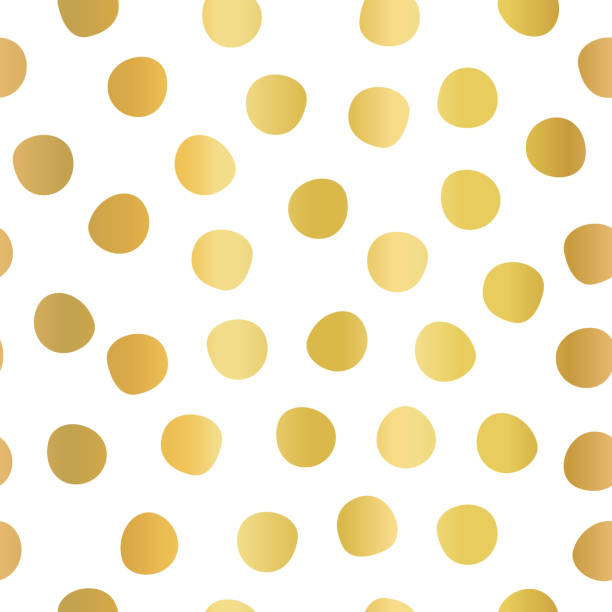 Hand drawn polka dots gold foil on white seamless vector background. Golden circles repeating pattern. Elegant backdrop. Use for invitation, celebration, card, banner, birthday, party, wedding, decor vector art illustration