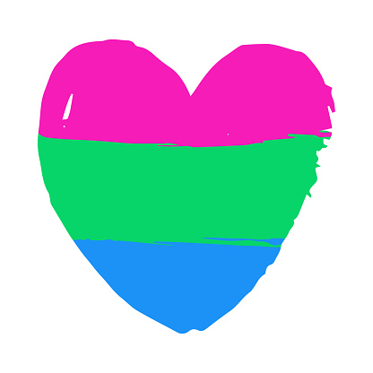 Hand drawn polysexual lgbt heart on white background. Gay rights concept. Vector hand drawn homosexuality emblem. Banner, poster, sticker, placard, invitation card typographic design. St valentine's.