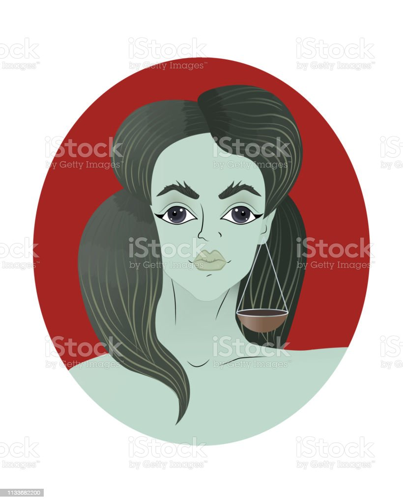 Illustration of libra zodiac sign as a beautiful girl. Vector...