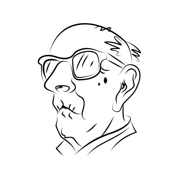 hand drawn portrait of an elderly man. black and white graphics. vector illustration. - old man hat stock illustrations, clip art, cartoons, & icons