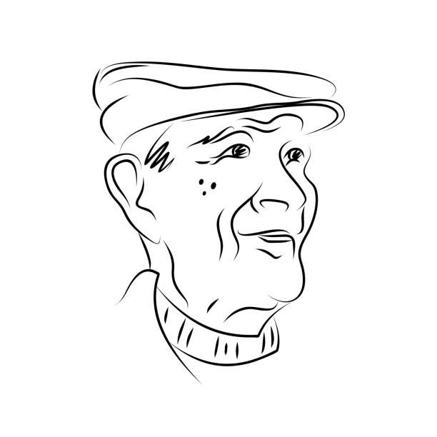 Hand drawn portrait of an elderly man. Black and white graphics. Vector illustration. Portrait of an elderly man in a cap. Hand drawn. Sketch. Black and white graphics. one senior man only illustrations stock illustrations