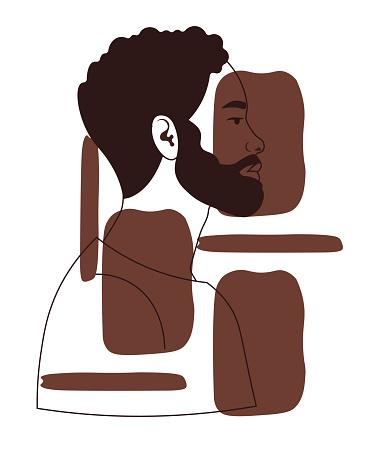 Hand drawn portrait of black man