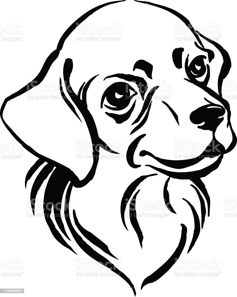 Disegno a mano ritratto di cane labrador nero e bianco - Animale domestico da colorare pagine gratis ...
