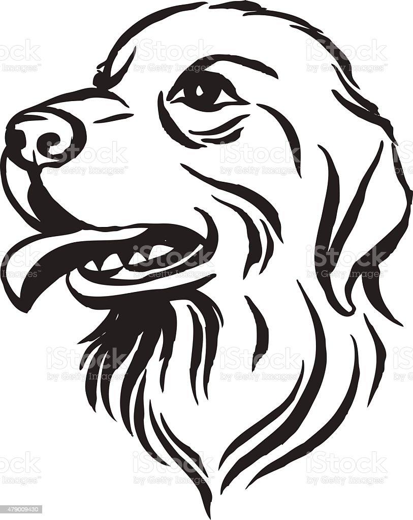 Disegno Cane Bianco E Nero.Disegno A Mano Ritratto Di Cane Labrador Nero E Bianco