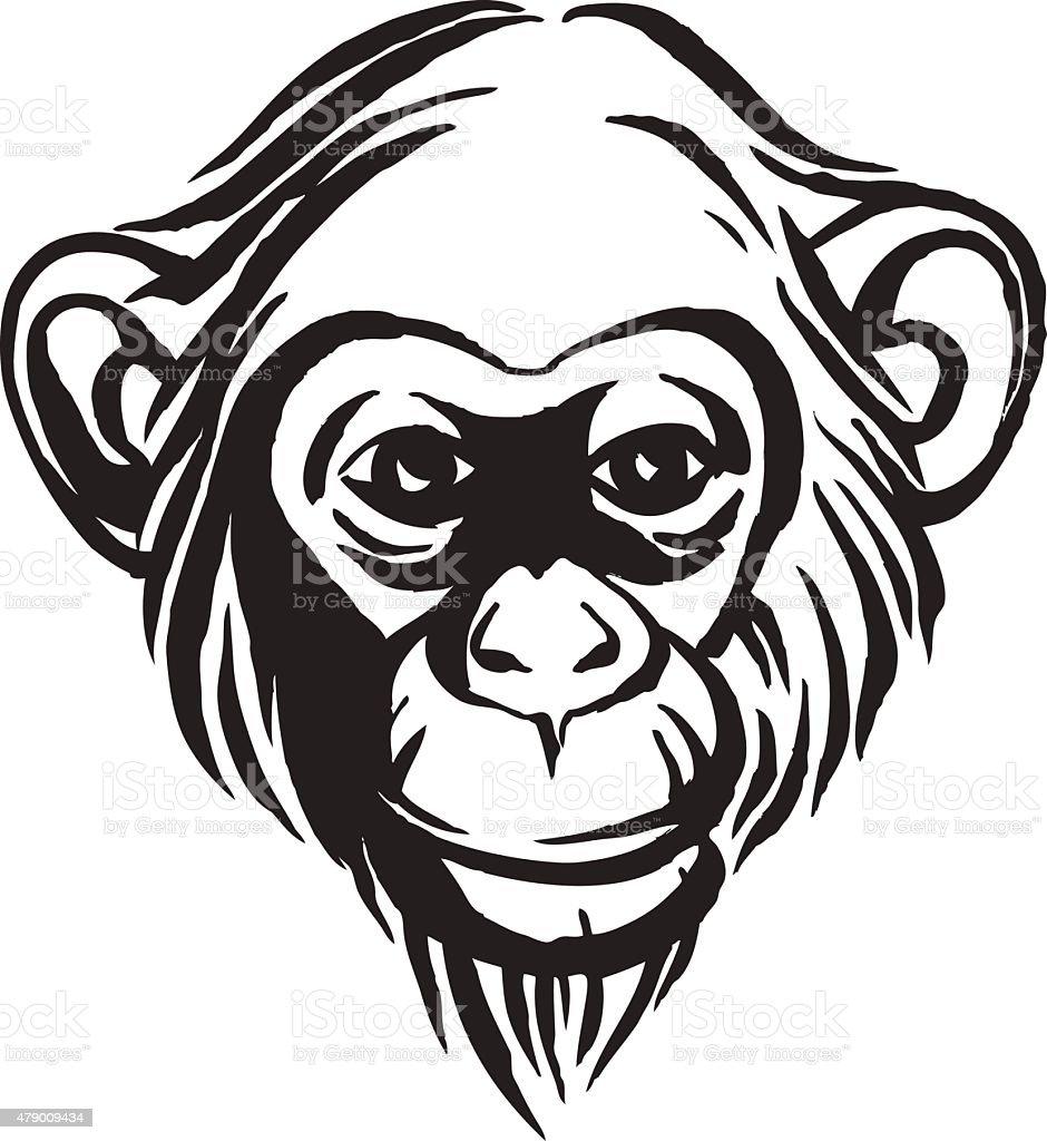 Monkey Disegno A Mano Ritratto Di Scimpanzé Bianco E Nero Immagini