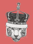 Hand drawn portrait of Tiger with crown. Vector
