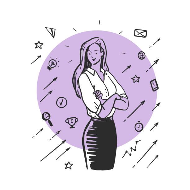 bildbanksillustrationer, clip art samt tecknat material och ikoner med handritade porträtt av ung affärskvinna i office suit, affärs ikoner isolerade på vit bakgrund. - unga kvinnor