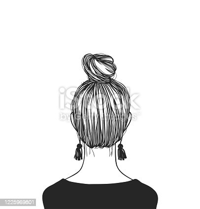 istock Hand Drawn portrait Stylish Woman. Beautiful Fashion Illustration back view. Doodle Vector pattern attractive Teenager Girl with bun hairstyle 1225969801