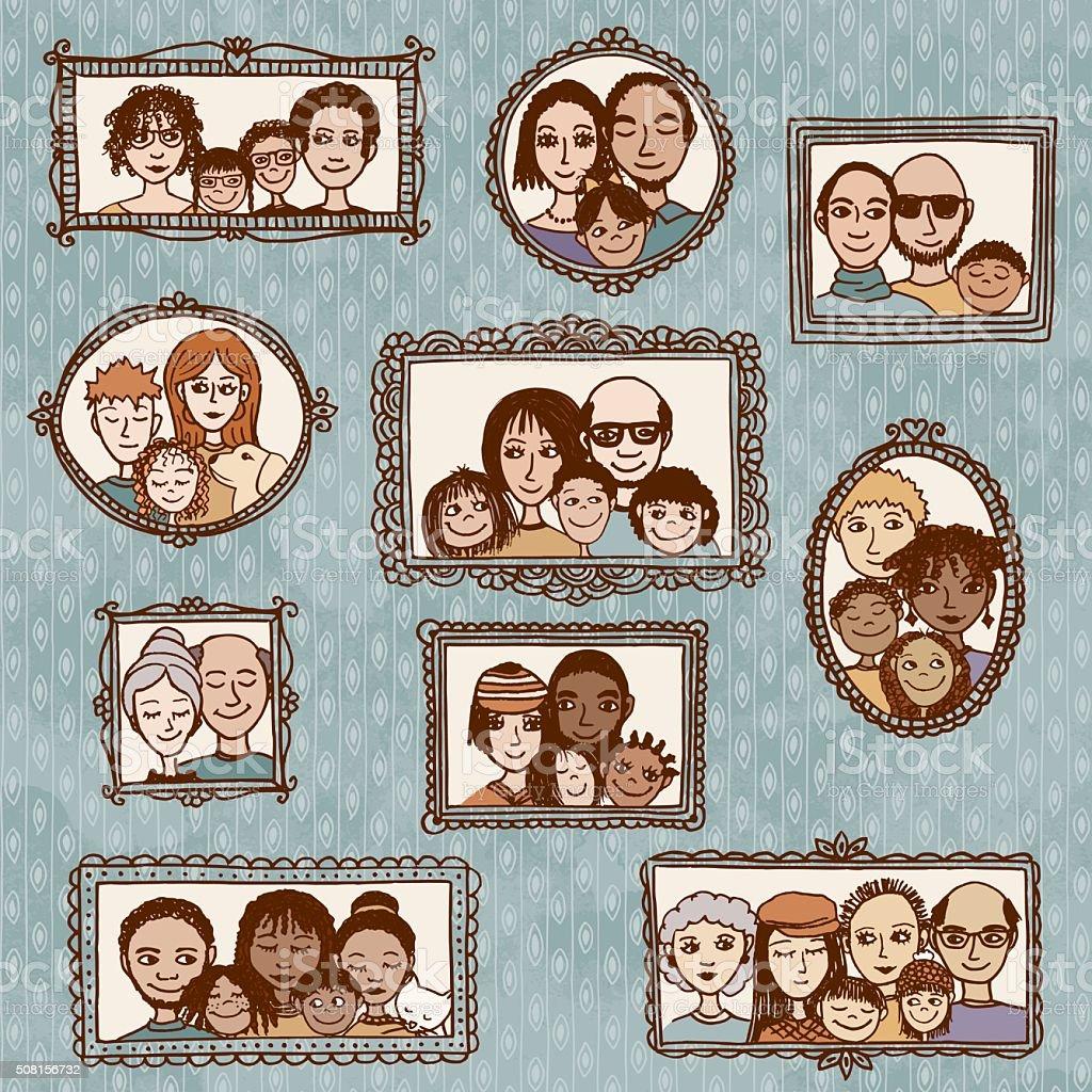Main tirées des Portraits de diverses familles - Illustration vectorielle