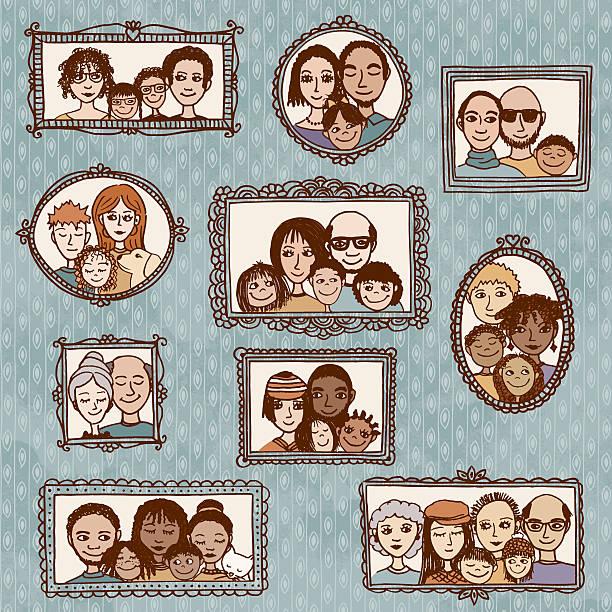 handgezeichnet porträts von verschiedenen familien - palettenbilderrahmen stock-grafiken, -clipart, -cartoons und -symbole